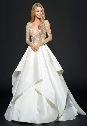 V-Neck Princess/Ball Gown Wedding Dress  with Natural Waist in Beaded Embroidery. Bridal Gown Style Number:33477944