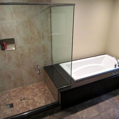 Side by side japanese soaking tub shower combination ideas for Toronto bathroom design
