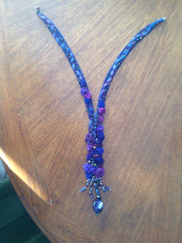 Embellished zipper gnecklace by Margaret Roberts.