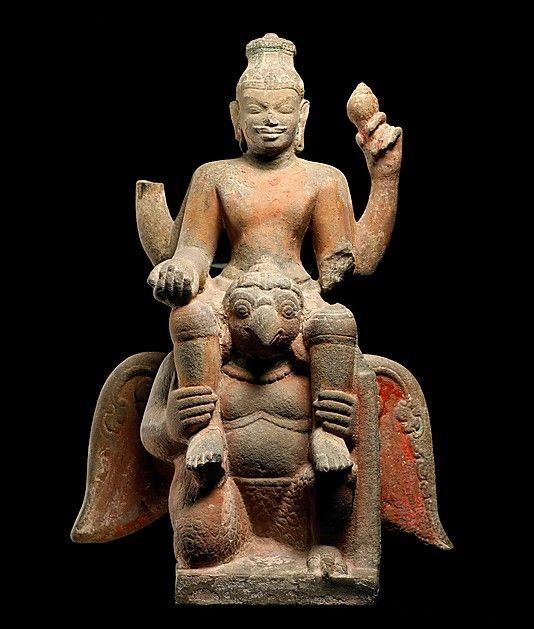 Vishnu Mounted on Garuda, early 9th century. Central Vietnam. Lent by Musée National des Arts Asiatiques–Guimet, Paris (MA3572) | The theme of Vishnu riding his celestial vehicle, the mythical eagle Garuda, was rarely represented in mainland Southeast Asia before the tenth century, when it became popular in Angkorian-period temple art. #LostKingdoms