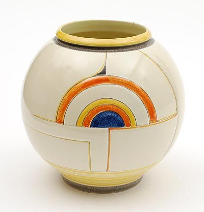 Earthenware vase model no.172 with abstract decoration in the style of Delaunay design C.J.Gellings executed by Kennemer Pottenbakkerij Vel...