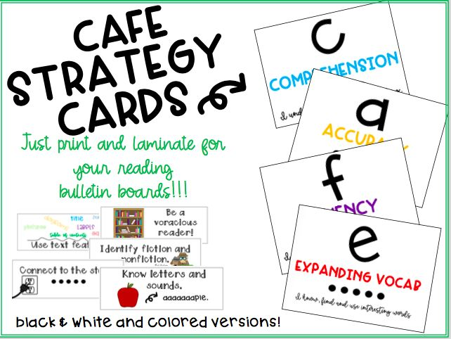 CAFE Strategy Cards for your Bulletin Boards! Simple- not wordy and easy to read.