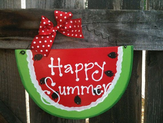 Watermelon Happy Summer sign can be personalized for free country wood crafts Decoration porch door on Etsy, $9.50