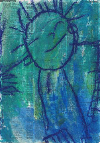 Pastel gras & aquarelle sur feuille de bottin téléphonique