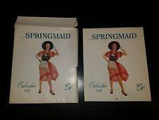 Springmaid 1952 Calendar Advertising Pin Up Collectible Springs Cotton Mill
