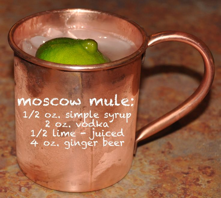 Moscow Mule… my new favorite cocktail! For a lower calorie version use diet ginger ale and make simple syrup with splenda or leave it completely out!