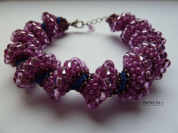 Cellini Pink spiral bracelet  Pink spiral Fun czech by MarysaArt