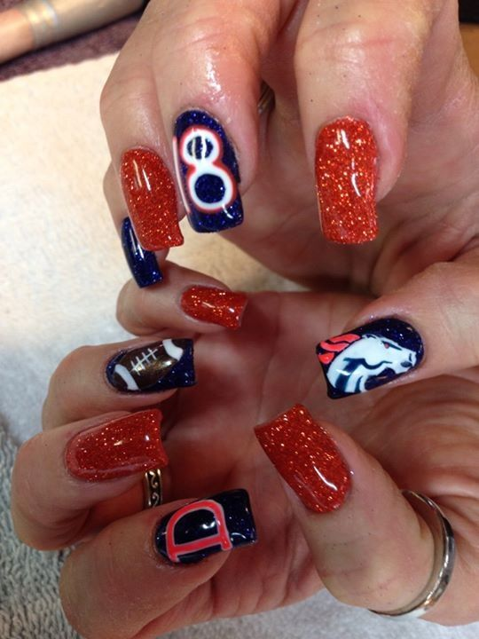 Denver broncos nails. GO BRONCOS!