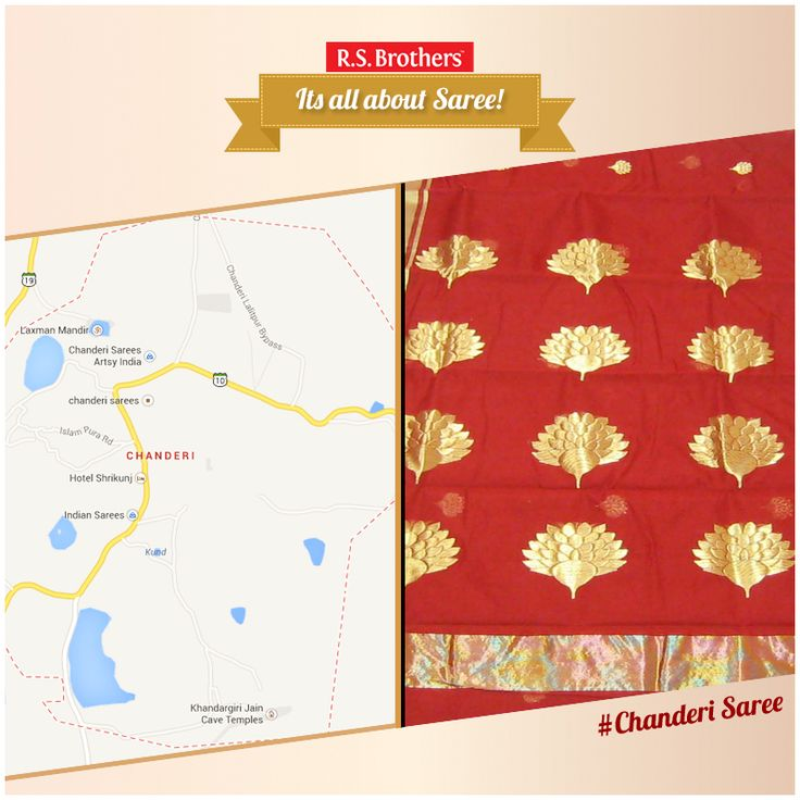 Chanderi is a town of historical importance in Ashoknagar District of the state of Madhya Pradesh in India. It is situated at a distance of 127 km from Shivpuri, 37 km from Lalitpur, 55 km from Ashok Nagar and about 45 km from Isagarh.   Exclusive #ChanderiSarees are Available with Various #Design's @R.S. Brothers.  (Image copyrights belong to their respective owners)