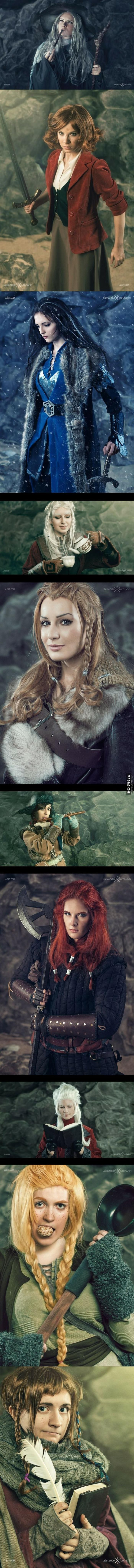 The Hobbit genderbend cosplay.  Most of the ladies are too pretty to be dwarves; nit picking aside, WOW this is GOOD