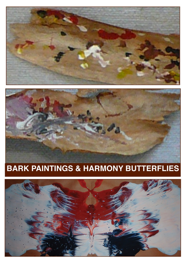 Australian Indigenous dot paintings on local bark and using squirt bottles used to create harmony butterfly paintings