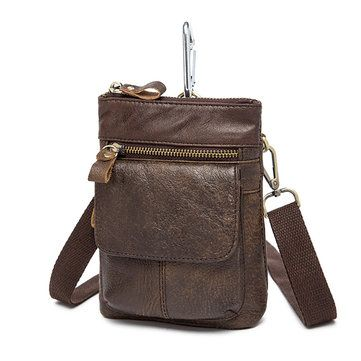 Male Genuine Leather Waist Bag Powerbank Phone Waist Pouch Vintage Small Crossbo - US$25.89
