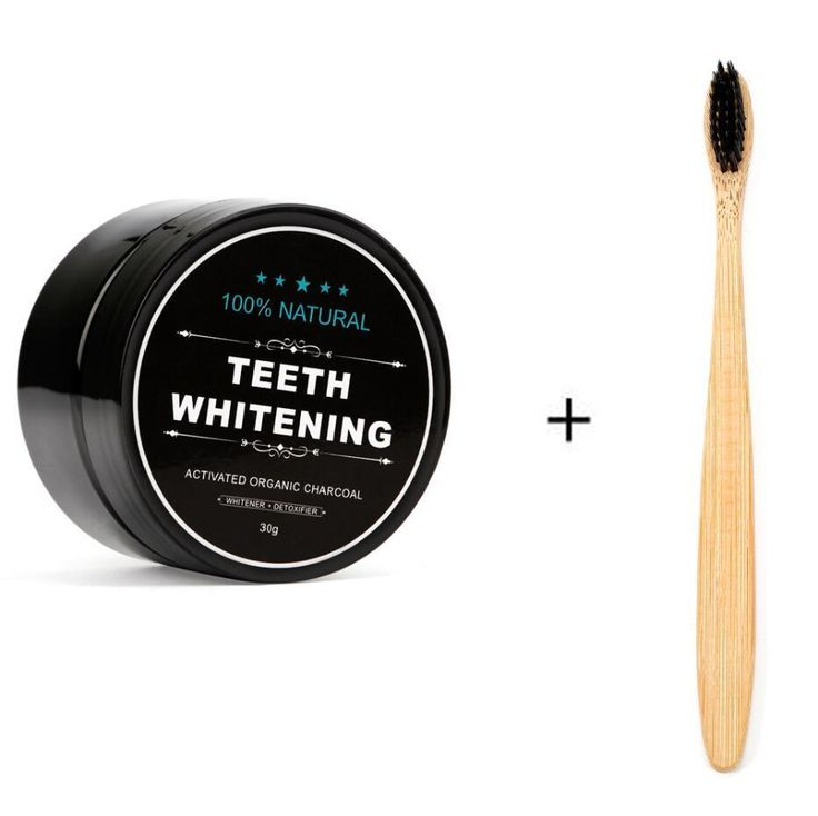 Activated Coconut Charcoal Bamboo Powder Teeth Whitening with Toothbrush