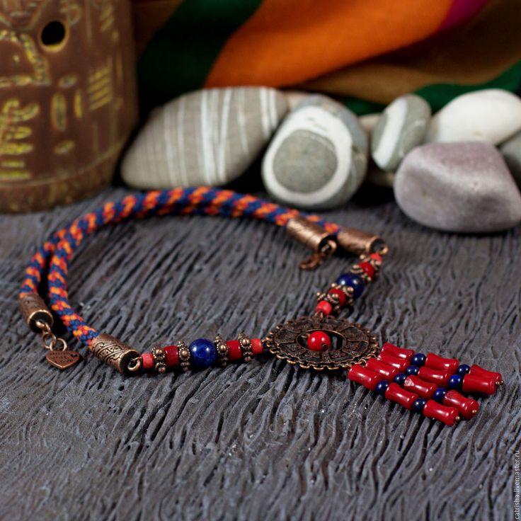 Купить Яркое колье Майя, индейские украшения, этно бусы, бохо ожерелье коралл