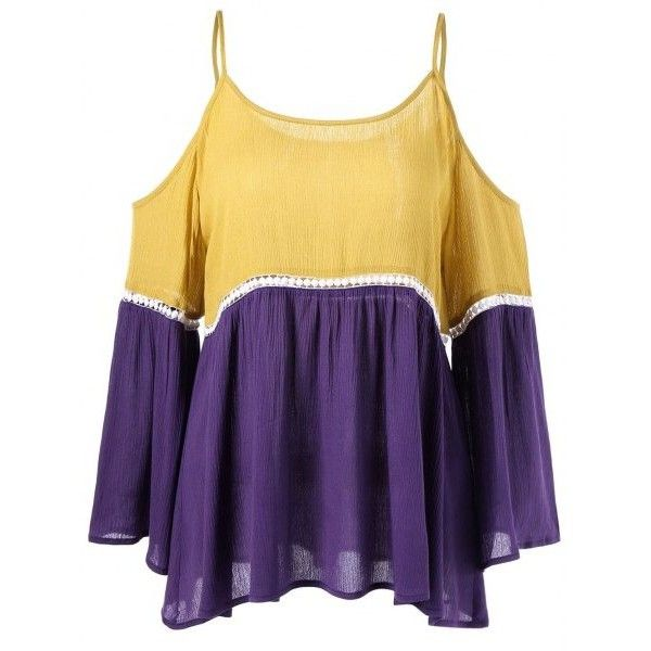 Dew Shoulder Openwork Insert Smock Blouse Yellow Purple ($16) ❤ liked on Polyvore featuring tops, blouses, yellow blouse, yellow top, smocked blouse, smock top and purple top