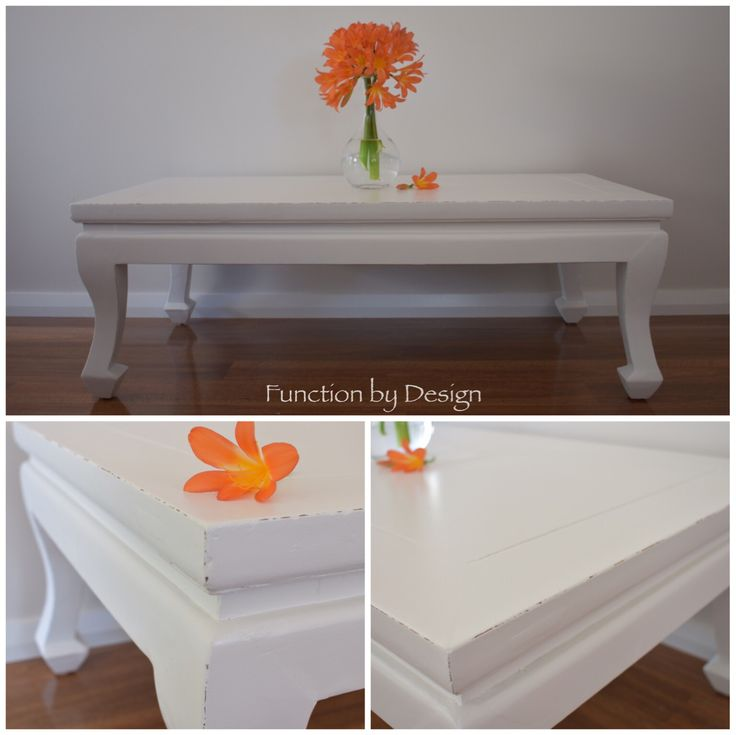 This coffee table has a very relaxed, shabby chic style. It had been painted in a warm white Aquanamel, which makes it very durable.   The legs have a lovely curved detail and the table has been lightly distressed on the edges to add the shabby chic character. #handpaintedfurniture #furniture #shabbychic #distressedfurniture #aquanamel
