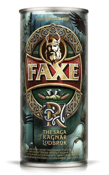 Beer Faxe premium, limited edition 1 of the 6 cans devoted to Saga of Rangar Lodbrock