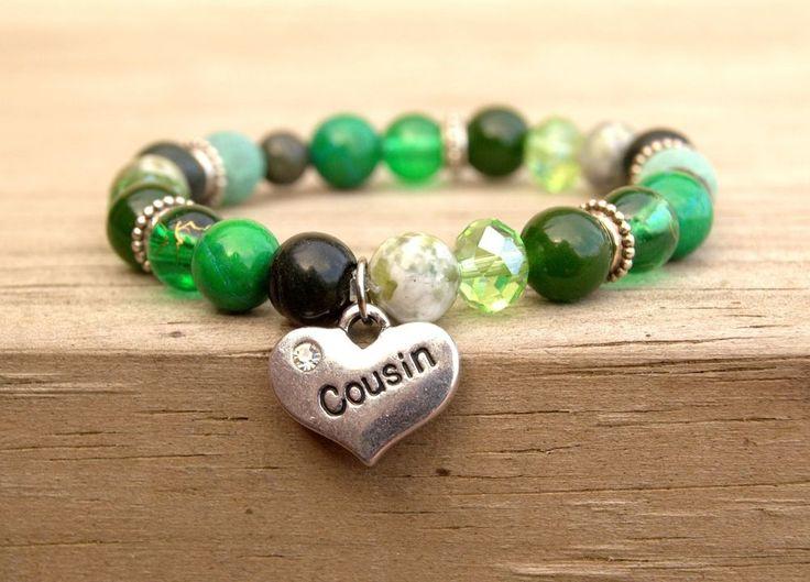 Cousin Bracelet, Cousin Gift, Beaded Bracelet, Cousin Bridesmaid, Green Bracelet #HoJoJewelry #Beaded #cousin #bracelet #jewelry #cousingift #bigcousin #cousinbracelet #cousinjewelry #etsy #etsyshop