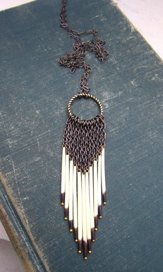 dreamcatcher porcupine quill necklace by rejoice the hands ...