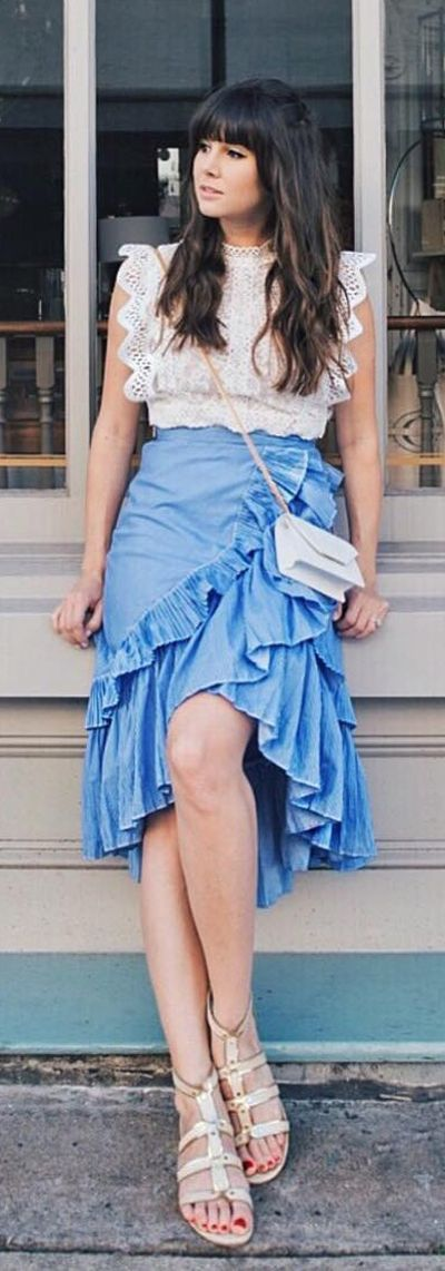 Applause of Ruffle Tiered Frill Hem Skirt in Blue Stripes (Item Number:B20170614001) and Your Sassy Start Sleeveless Crochet Lace Top in White (Item Number: T20170614012) featured by theMA Times Blog