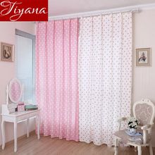 Small Circle Pattern Curtains Korean Style Fresh Semi Shade Custom Curtains For kids Bedroom Curtains Cloth And Tulle WP122 #20(China (Mainland))