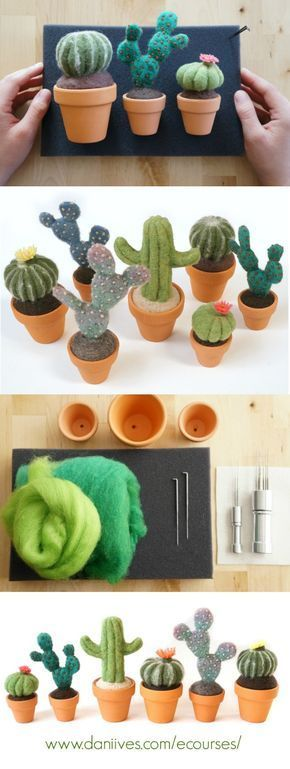 Learn how to needle felt a potted cactus. DIY Cactus Course by Dani Ives #needlefelting #diy #fiberart #needlefeltingtutorials