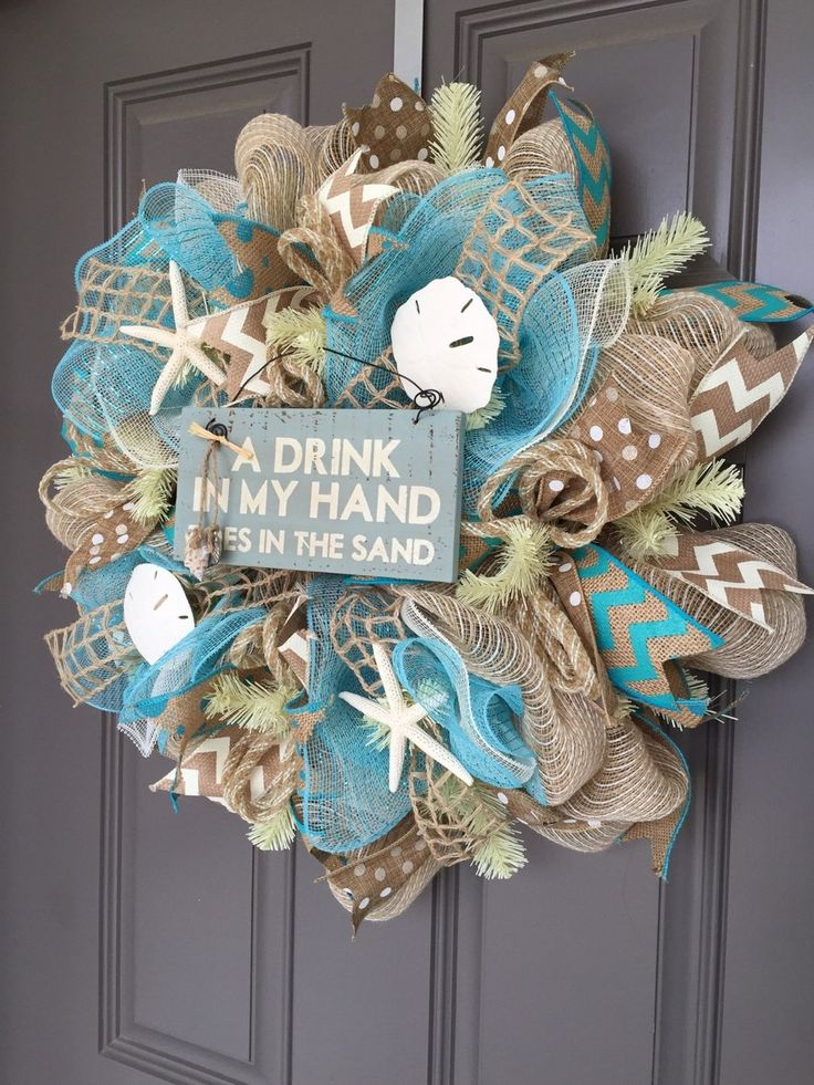 A Drink In My Hand, Toes in the Sand Beach Wreath, Seashell Wreath, Beach Wreath, Starfish Wreath