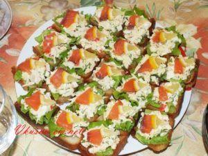 Пикантные бутерброды с красной рыбой
