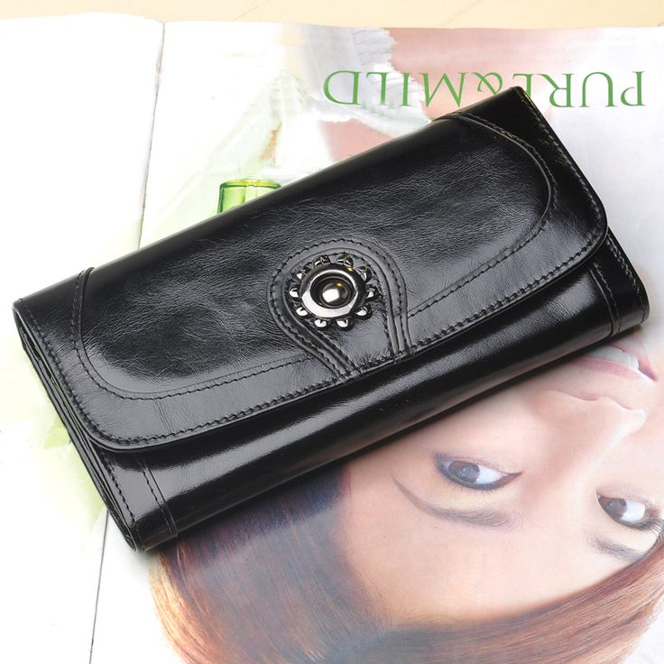 Soft Floral Hasp Closure with Zipper Genuine Leather Wallets