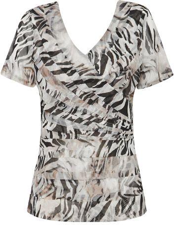 Liz Jordan Layered Mesh Print Top $79.95 AUD  Short sleeve mesh layered print top, knit lining 100% Nylon  Item Code: 047180