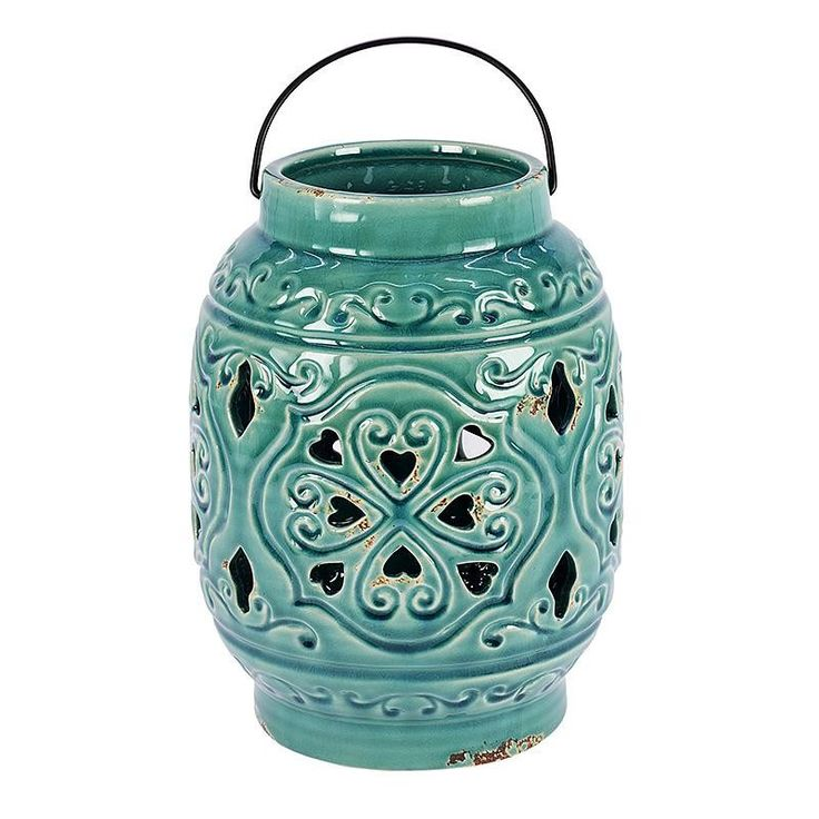 CERAMIC LANTERN IN TURQUOISE COLOR 19X19X25 - Lanterns - DECORATIONS