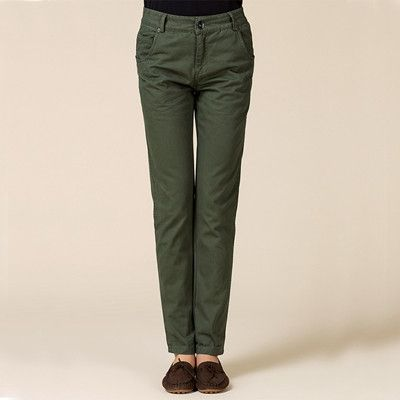 Casual Cotton khaki pants women spring black plus size OL formal cargo pants ladies autumn green slim fit oversize work trousers