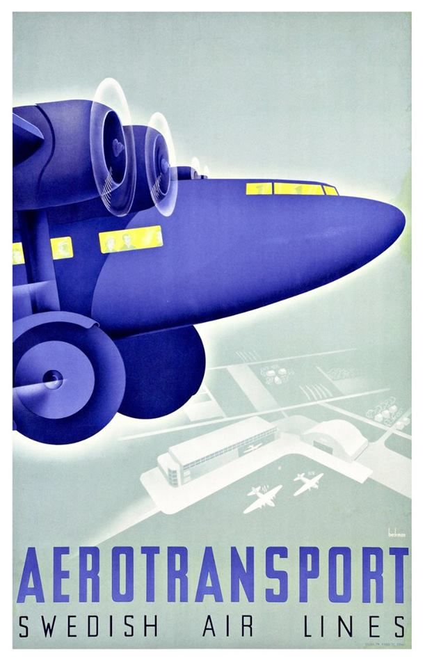 Swedish Airlines Dèco poster
