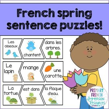 French Spring Sentence Scramble ♦ Use as a centre - students sort the shapes to create spring sentences.    Great for Daily 5 / 5 au quotidien centres for your Immersion or Core French students in the spring!