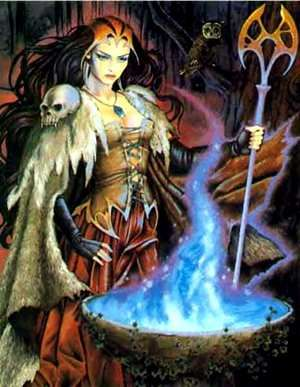 Cerridwen (also Caridwen) and her cauldron, Celtic goddess of corn, wife of Tegid Voel, Lord of the Lake. She had two children, a beautiful daughter and an ugly boy. To make up for the hideousness she gave her son the gift of inspiration ad knowledge by collecting magic herbs and brewing them in her cauldron for a year and a day