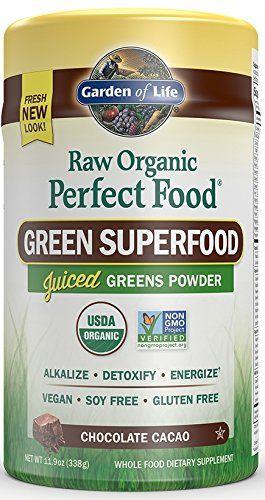 Garden of Life Vegan Green Superfood Powder - Raw Organic Perfect Whole Food Dietary Supplement Chocolate 11.9oz (338g) Powder