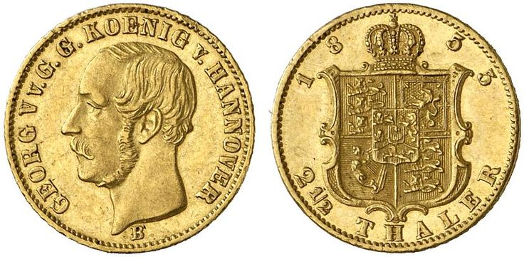 AV 2,5 Taler. Germany Coins, Hannover, George V. 1851-1866. 1855 B, Hannover mint. 3,33g. F 1182. Nearly EF. Starting price 2011: 520 USD. Unsold.