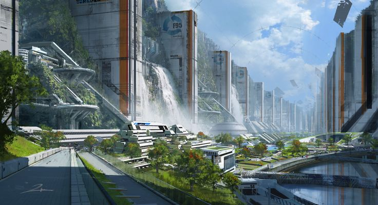 The city lives under a fake sky dome in a canyon. Outside is too polluted to be habitable. The giant vertical structure attaching to the cliff contains water and air filter system, generate energy, and also house thousands of civilians.