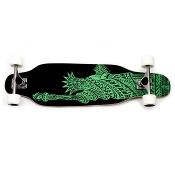 Bustin Boards Sojourn Longboard. Thanks to its longboard shape and short skateboard nose and tail kicks, this hybrid gives you the best of both worlds. This AHAlife exclusive has a fresh Lady Liberty look. $195.00