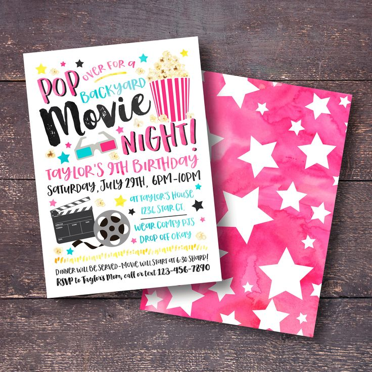 design birthday party invitations free%0A Movie Birthday Party Invitation   Order your personalized birthday  invitations at Boardman Printing  Visit