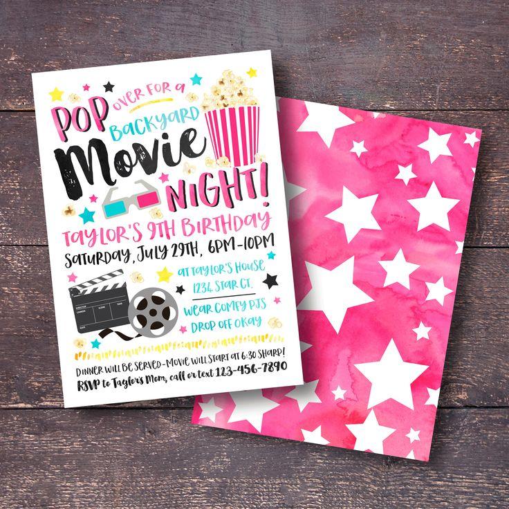 Movie Birthday Invitation, Backyard Movie Invitation, Movie Night Invitation, Outdoor Movie Invitation, Movie Party Invitation, Movie Party by BloomberryDesigns on Etsy https://www.etsy.com/listing/512944710/movie-birthday-invitation-backyard-movie