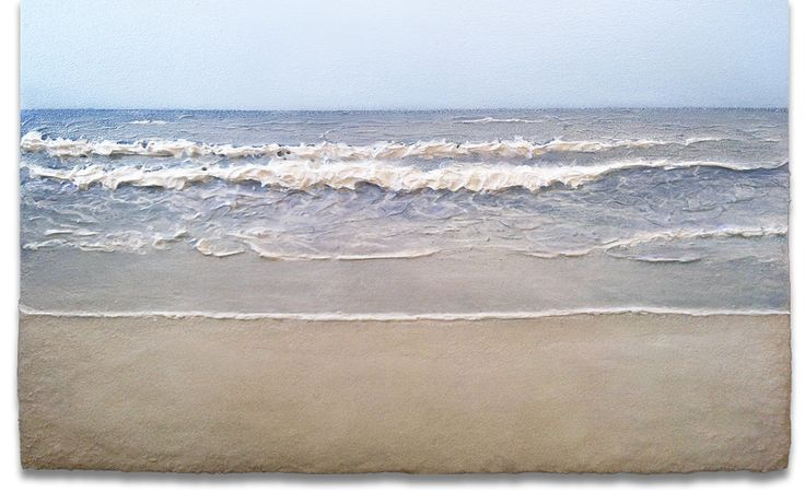 In Waves #15, 2013, acrylic and sand on panel, 56cm x 91cm
