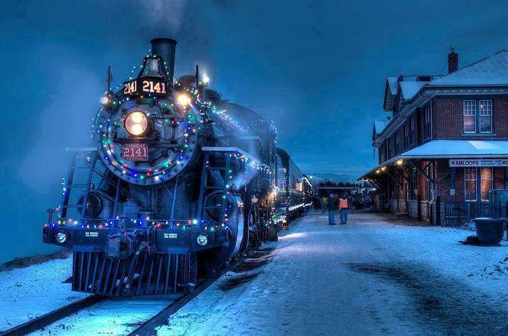 The Christmas Locomotive in Kamloops, British Columbia, Canada