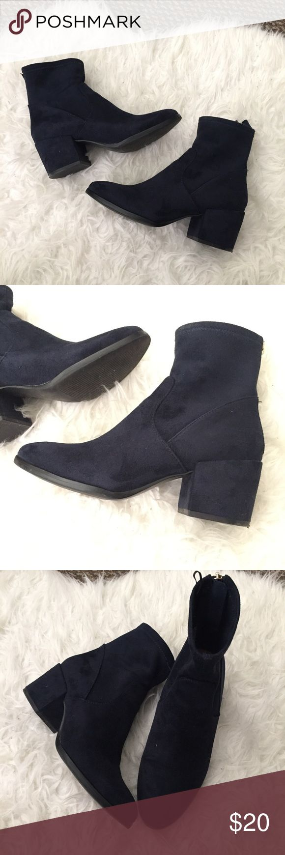 Midnight Blue Sock Fitted Ankle Booties size 37 worn once, super cute!! Excellent condition. It says Eur 37 US 6, but I'm a 7 and I fit it just fine H&M Shoes Ankle Boots & Booties