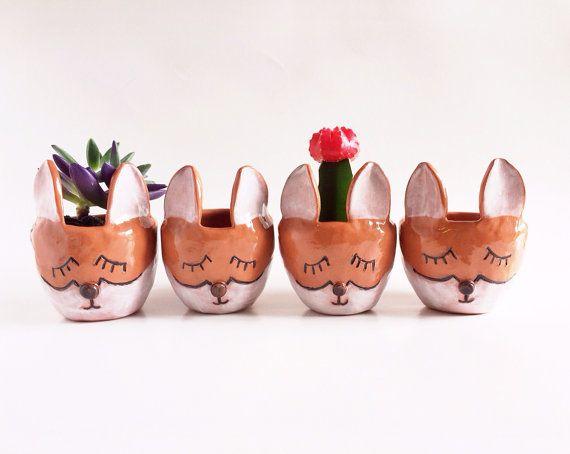 Keramik Fox Pflanzer Fox Dekor Haushaltswaren von PotteryLodge