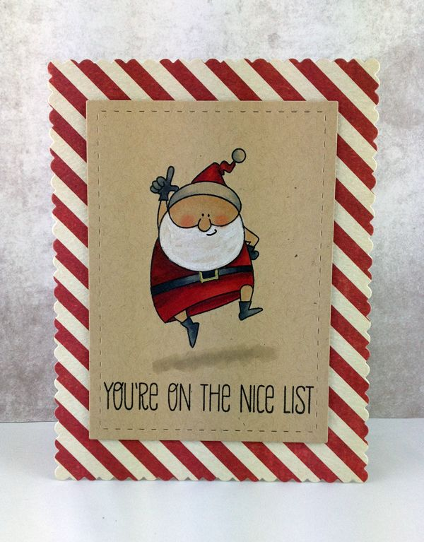 "card made by stef using My Favorite Things ""Jingle all the way"""