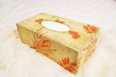 Krabička na kapesníky, dřevěná, zdobená ubrouskovou technikou s motivem obilí. Krabička je nová, ručně zdobená, povrch lakován a vejde se do ní 200ks kapesníčků. Cena poštovného se musí přičíst k ceně krabičky a činí 75kč. Za 3 krabičky stále jedno poštovné.
