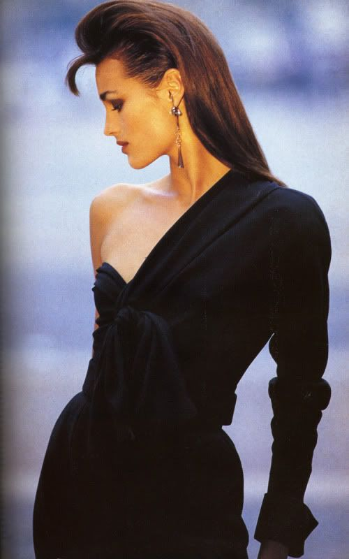 Yasmin le Bon in a Versace top and skirt. Photograph by Hans Feurer for Vogue UK, September 1987.