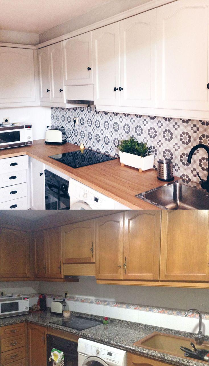 Patrón vintage 3 blanco y negro – Vinilo autoadhesivo lavable para suelos, muebles y paredes