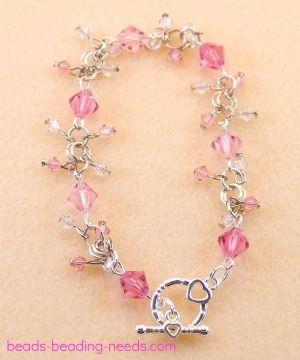 Stunning Pink Swarovski Crystal Bead Bracelet
